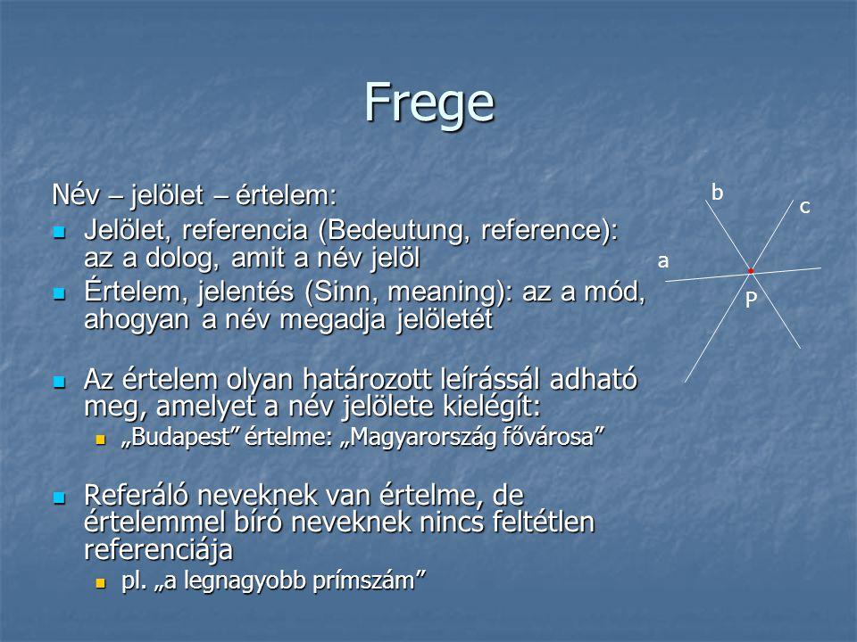 Frege Név – jelölet – értelem: Jelölet, referencia (Bedeutung, reference): az a dolog, amit a név jelöl Jelölet, referencia (Bedeutung, reference): az