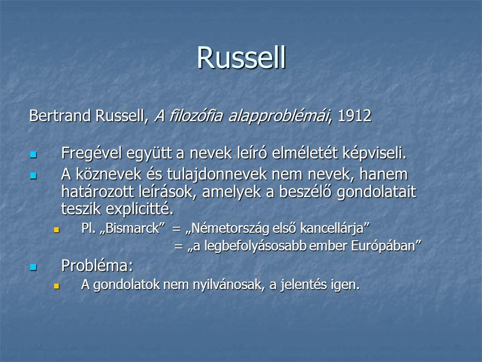 Russell Bertrand Russell, A filozófia alapproblémái, 1912 Fregével együtt a nevek leíró elméletét képviseli. Fregével együtt a nevek leíró elméletét k