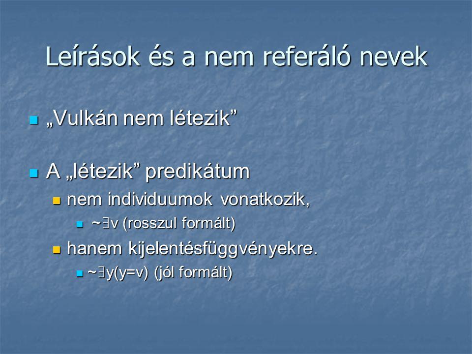 """Leírások és a nem referáló nevek """"Vulkán nem létezik"""" """"Vulkán nem létezik"""" A """"létezik"""" predikátum A """"létezik"""" predikátum nem individuumok vonatkozik,"""