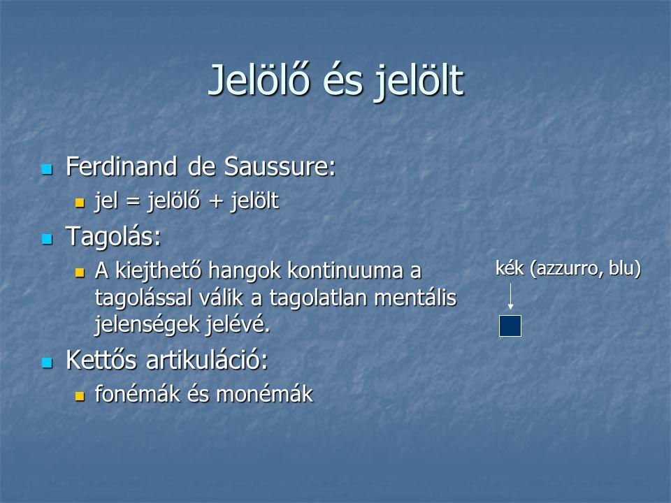 Jelölő és jelölt Ferdinand de Saussure: Ferdinand de Saussure: jel = jelölő + jelölt jel = jelölő + jelölt Tagolás: Tagolás: A kiejthető hangok kontin