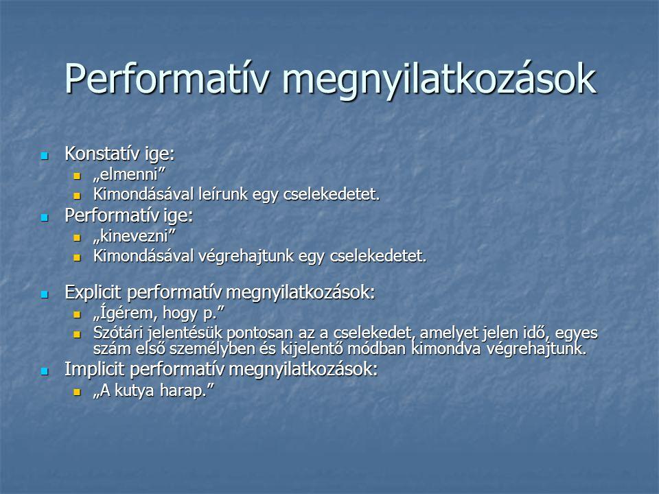 """Performatív megnyilatkozások Konstatív ige: Konstatív ige: """"elmenni"""" """"elmenni"""" Kimondásával leírunk egy cselekedetet. Kimondásával leírunk egy cseleke"""