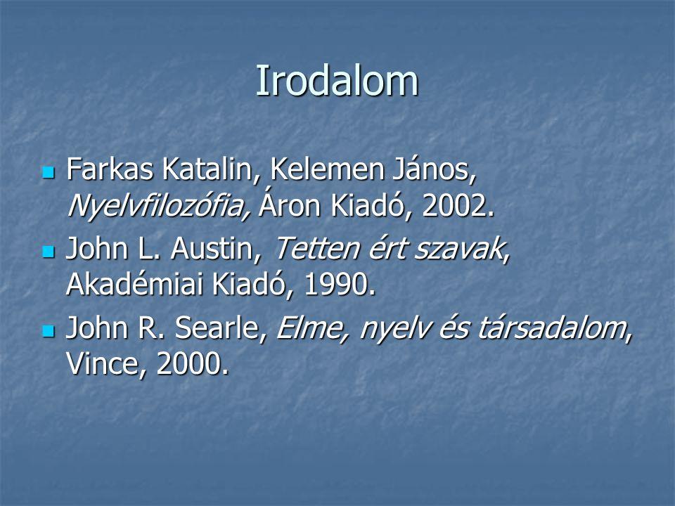 Irodalom Farkas Katalin, Kelemen János, Nyelvfilozófia, Áron Kiadó, 2002. Farkas Katalin, Kelemen János, Nyelvfilozófia, Áron Kiadó, 2002. John L. Aus