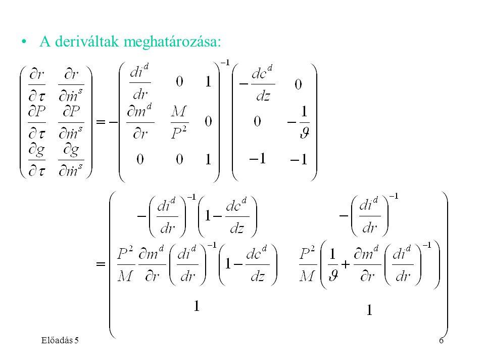 Előadás 56 A deriváltak meghatározása: