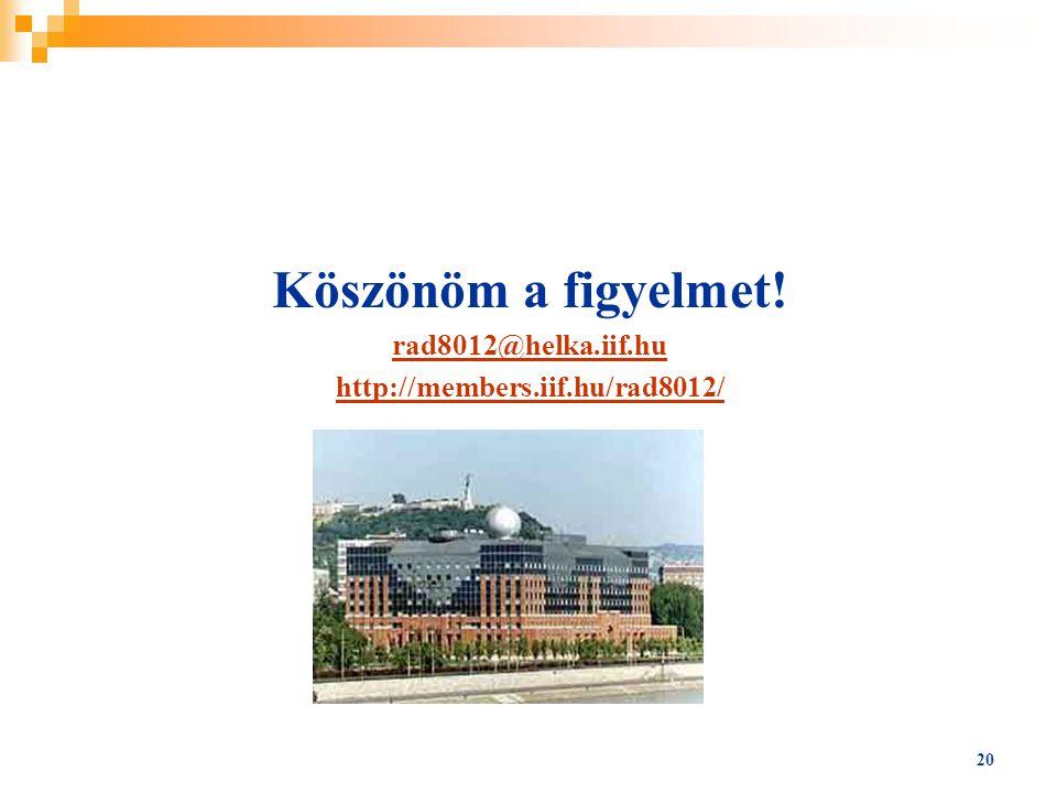 20 Köszönöm a figyelmet! rad8012@helka.iif.hu http://members.iif.hu/rad8012/