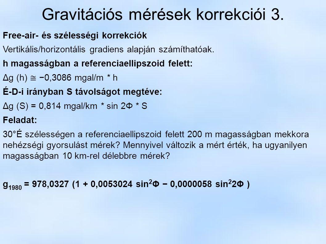 Gravitációs mérések korrekciói 3.