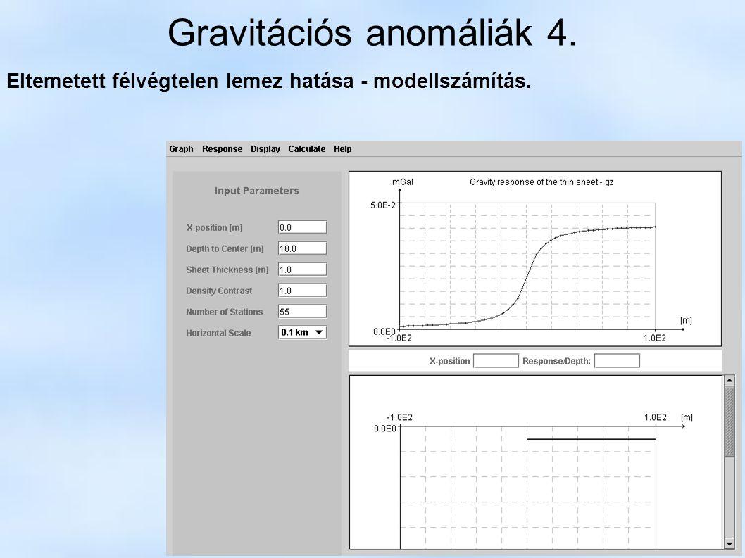 Gravitációs anomáliák 4. Eltemetett félvégtelen lemez hatása - modellszámítás.
