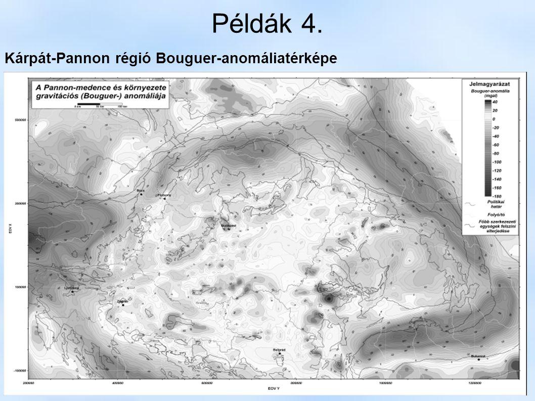 Példák 4. Kárpát-Pannon régió Bouguer-anomáliatérképe