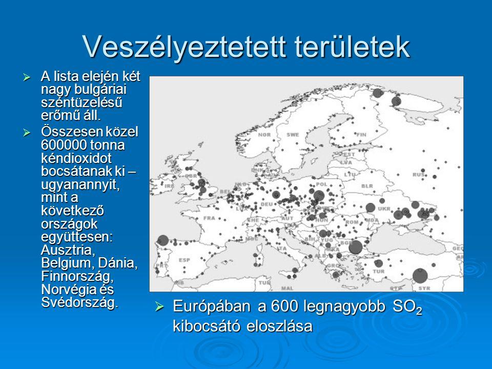  A lista elején két nagy bulgáriai széntüzelésű erőmű áll.  Összesen közel 600000 tonna kéndioxidot bocsátanak ki – ugyanannyit, mint a következő or