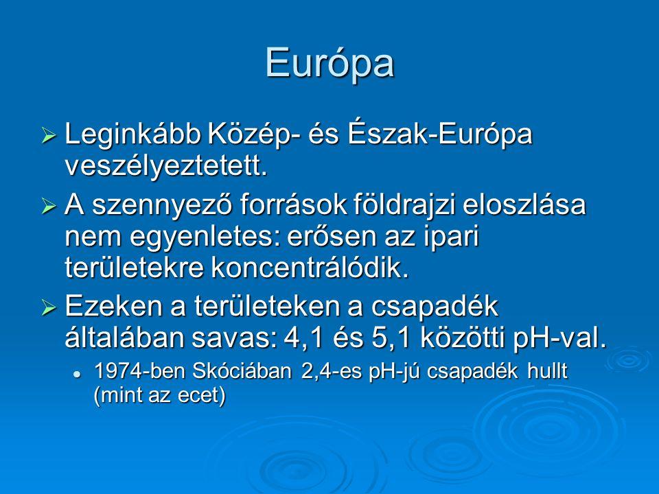 Európa  Leginkább Közép- és Észak-Európa veszélyeztetett.  A szennyező források földrajzi eloszlása nem egyenletes: erősen az ipari területekre konc