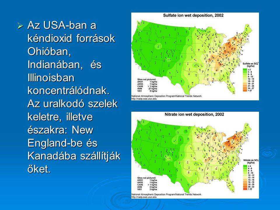  Az USA-ban a kéndioxid források Ohióban, Indianában, és Illinoisban koncentrálódnak. Az uralkodó szelek keletre, illetve északra: New England-be és