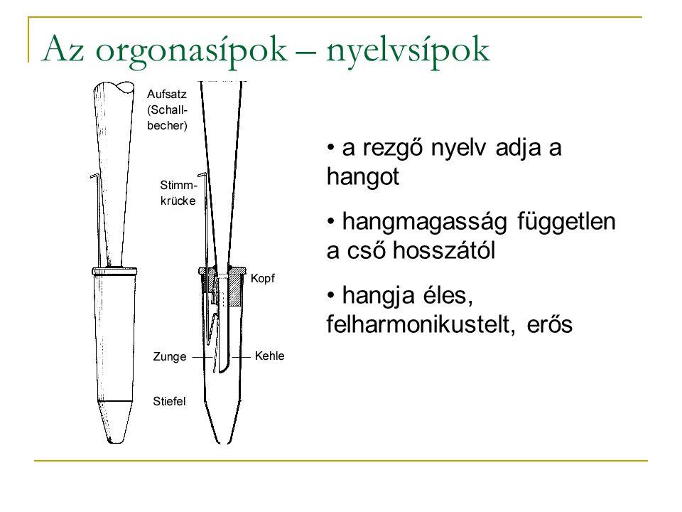 Az orgonasípok – nyelvsípok a rezgő nyelv adja a hangot hangmagasság független a cső hosszától hangja éles, felharmonikustelt, erős