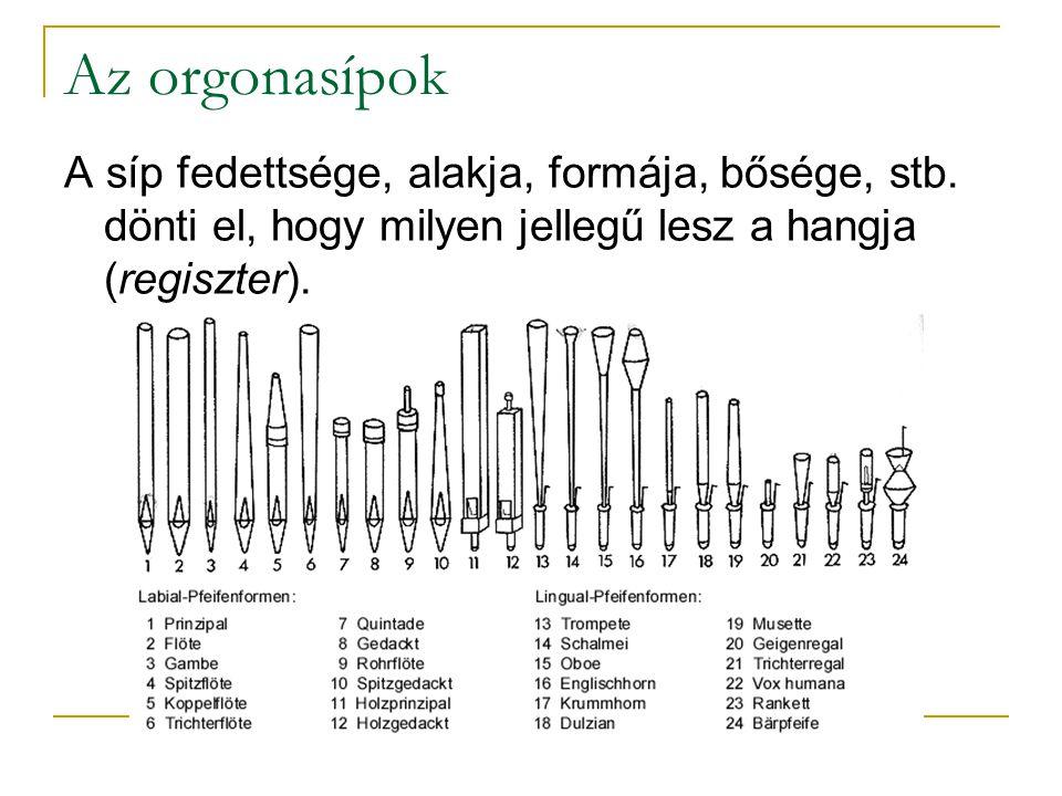 Az orgonasípok A síp fedettsége, alakja, formája, bősége, stb. dönti el, hogy milyen jellegű lesz a hangja (regiszter).