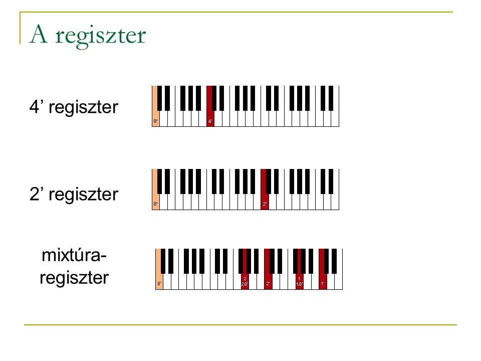 4' regiszter 2' regiszter mixtúra- regiszter A regiszter