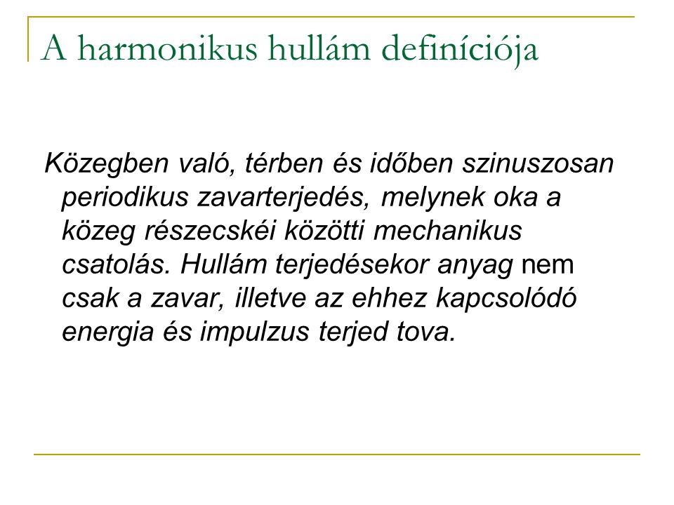 A harmonikus hullám definíciója Közegben való, térben és időben szinuszosan periodikus zavarterjedés, melynek oka a közeg részecskéi közötti mechaniku