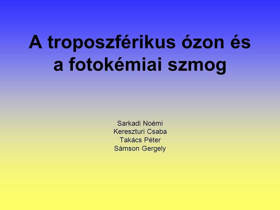 A troposzférikus ózon és a fotokémiai szmog Sarkadi Noémi Kereszturi Csaba Takács Péter Sámson Gergely