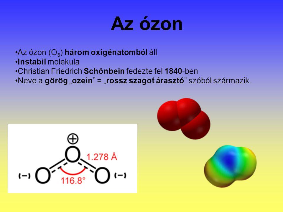"""Az ózon (O 3 ) három oxigénatomból áll Instabil molekula Christian Friedrich Schönbein fedezte fel 1840-ben Neve a görög """"ozein = """"rossz szagot árasztó szóból származik."""