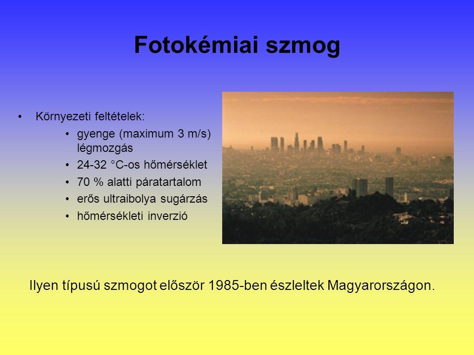 Fotokémiai szmog Környezeti feltételek: gyenge (maximum 3 m/s) légmozgás 24-32 °C-os hőmérséklet 70 % alatti páratartalom erős ultraibolya sugárzás hőmérsékleti inverzió Ilyen típusú szmogot először 1985-ben észleltek Magyarországon.