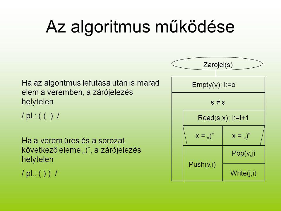 """Az algoritmus működése Zarojel(s) Empty(v); i:=o s ≠ ε Read(s,x); i:=i+1 x = """"(""""x = """")"""" Push(v,i) Pop(v,j) Write(j,i) Ha az algoritmus lefutása után i"""