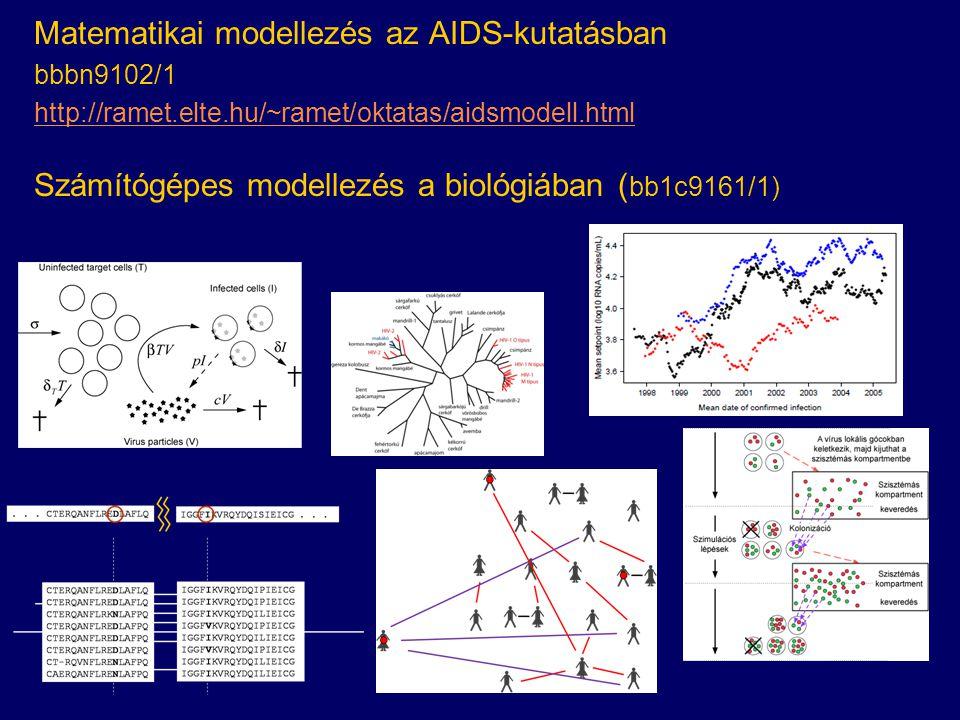 Matematikai modellezés az AIDS-kutatásban bbbn9102/1 http://ramet.elte.hu/~ramet/oktatas/aidsmodell.html Számítógépes modellezés a biológiában ( bb1c9161/1)