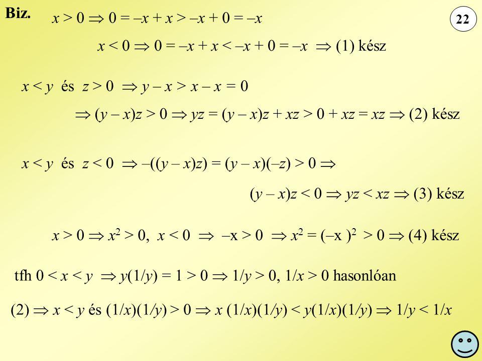22 Biz. x > 0  0 = –x + x > –x + 0 = –x x < 0  0 = –x + x < –x + 0 = –x  (1) kész x 0  y – x > x – x = 0  (y – x)z > 0  yz = (y – x)z + xz > 0 +
