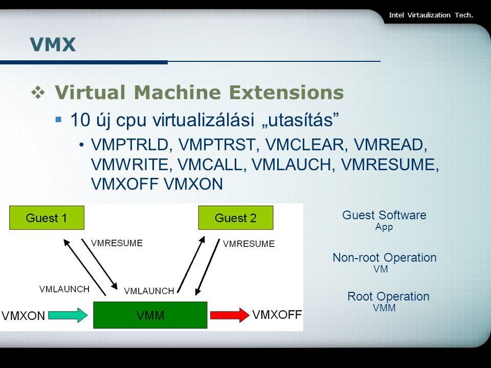 "Intel Virtaulization Tech. VMX  Virtual Machine Extensions  10 új cpu virtualizálási ""utasítás"" VMPTRLD, VMPTRST, VMCLEAR, VMREAD, VMWRITE, VMCALL,"