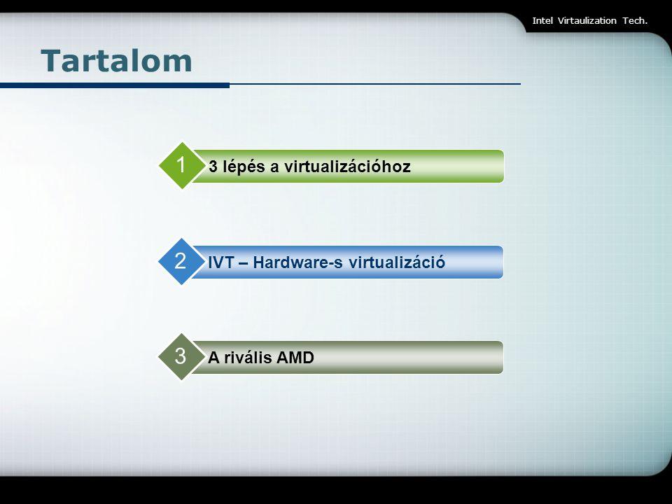 Intel Virtaulization Tech. Tartalom 3 lépés a virtualizációhoz 1 IVT – Hardware-s virtualizáció 2 A rivális AMD 3