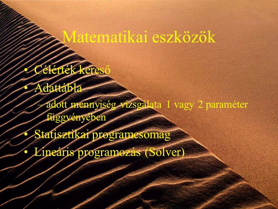 13 Matematikai eszközök Célérték kereső Adattábla –adott mennyiség vizsgálata 1 vagy 2 paraméter függvényében Statisztikai programcsomag Lineáris prog