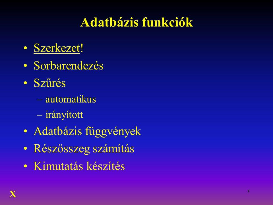 5 Adatbázis funkciók Szerkezet! Sorbarendezés Szűrés –automatikus –irányított Adatbázis függvények Részösszeg számítás Kimutatás készítés X