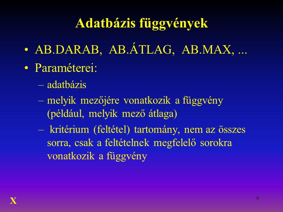 9 Adatbázis függvények AB.DARAB, AB.ÁTLAG, AB.MAX,... Paraméterei: –adatbázis –melyik mezőjére vonatkozik a függvény (például, melyik mező átlaga) – k