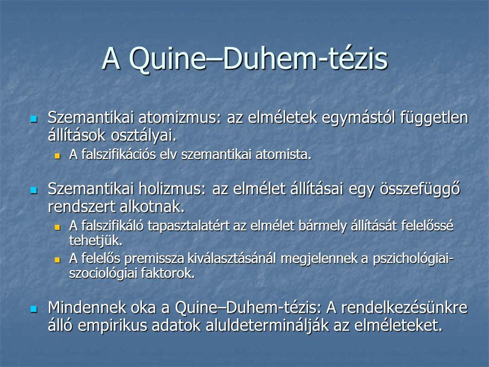 A Quine–Duhem-tézis Szemantikai atomizmus: az elméletek egymástól független állítások osztályai. Szemantikai atomizmus: az elméletek egymástól függetl