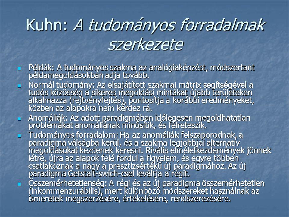 Kuhn: A tudományos forradalmak szerkezete Példák: A tudományos szakma az analógiaképzést, módszertant példamegoldásokban adja tovább. Példák: A tudomá
