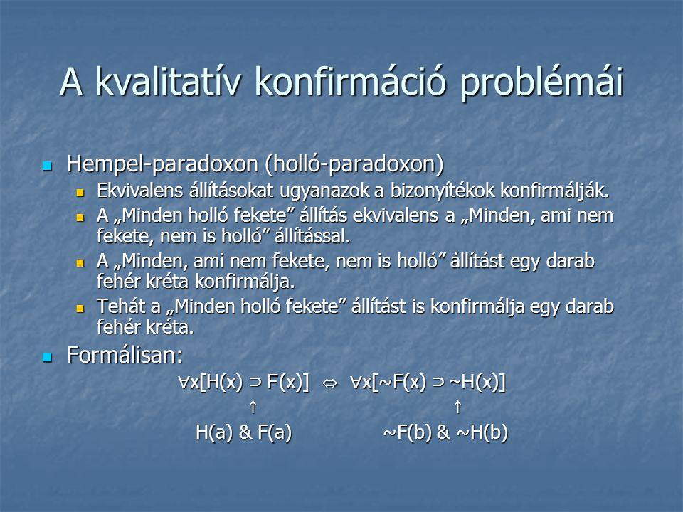 A kvalitatív konfirmáció problémái Hempel-paradoxon (holló-paradoxon) Hempel-paradoxon (holló-paradoxon) Ekvivalens állításokat ugyanazok a bizonyíték