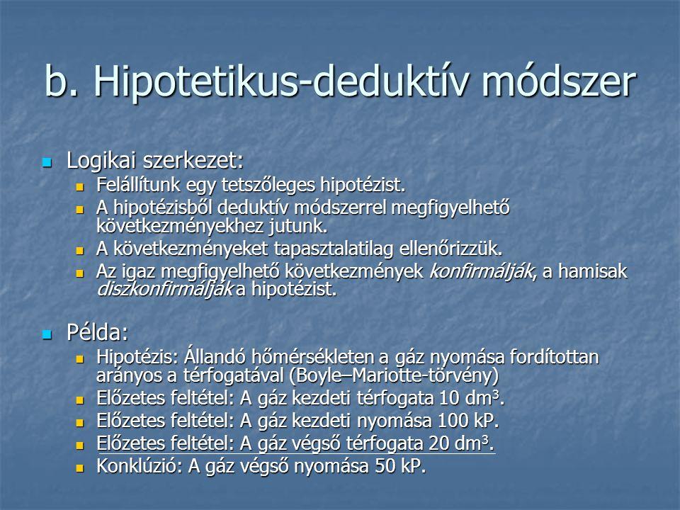 b. Hipotetikus-deduktív módszer Logikai szerkezet: Logikai szerkezet: Felállítunk egy tetszőleges hipotézist. Felállítunk egy tetszőleges hipotézist.
