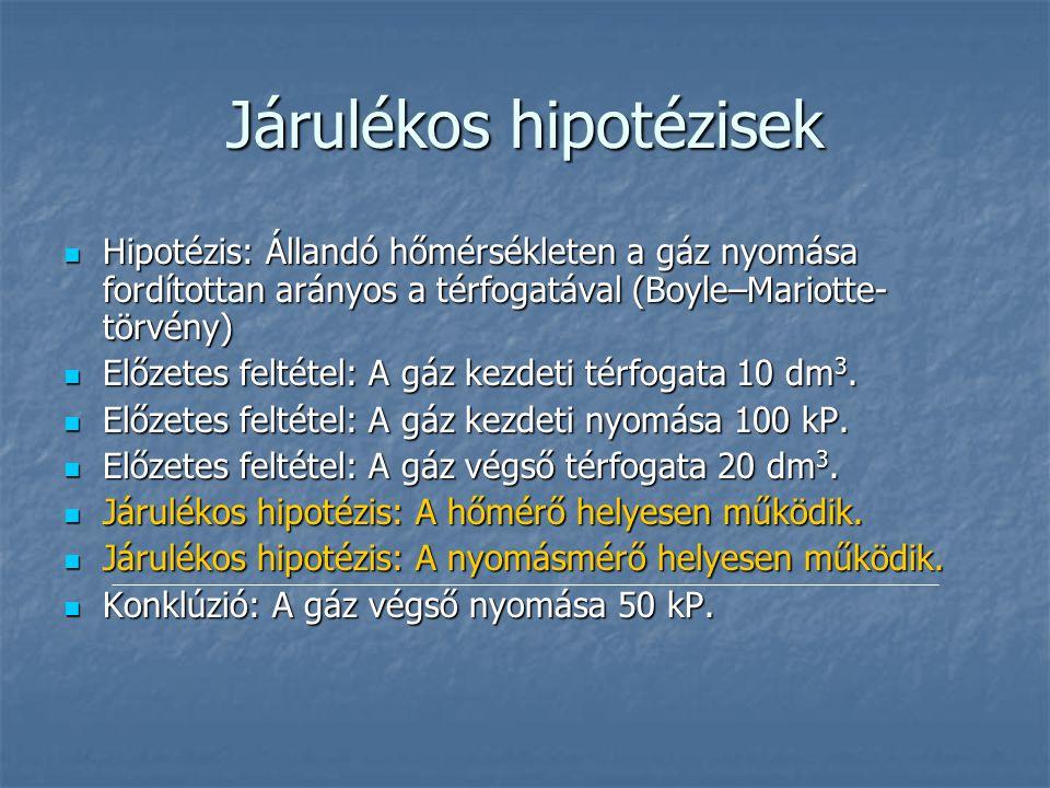 Járulékos hipotézisek Hipotézis: Állandó hőmérsékleten a gáz nyomása fordítottan arányos a térfogatával (Boyle–Mariotte- törvény) Hipotézis: Állandó h
