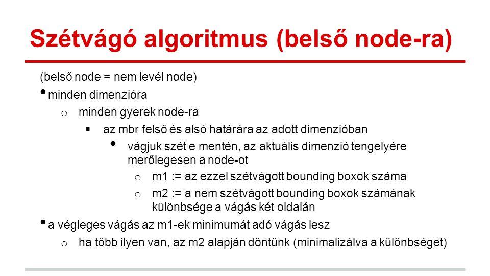 Szétvágó algoritmus (belső node-ra) (belső node = nem levél node) minden dimenzióra o minden gyerek node-ra  az mbr felső és alsó határára az adott dimenzióban vágjuk szét e mentén, az aktuális dimenzió tengelyére merőlegesen a node-ot o m1 := az ezzel szétvágott bounding boxok száma o m2 := a nem szétvágott bounding boxok számának különbsége a vágás két oldalán a végleges vágás az m1-ek minimumát adó vágás lesz o ha több ilyen van, az m2 alapján döntünk (minimalizálva a különbséget)