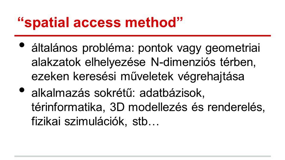 spatial access method általános probléma: pontok vagy geometriai alakzatok elhelyezése N-dimenziós térben, ezeken keresési műveletek végrehajtása alkalmazás sokrétű: adatbázisok, térinformatika, 3D modellezés és renderelés, fizikai szimulációk, stb…