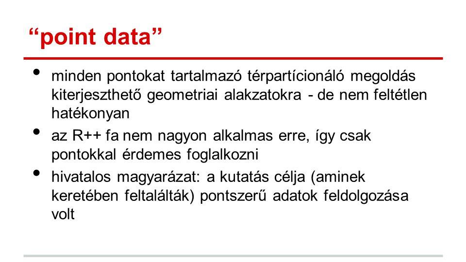 point data minden pontokat tartalmazó térpartícionáló megoldás kiterjeszthető geometriai alakzatokra - de nem feltétlen hatékonyan az R++ fa nem nagyon alkalmas erre, így csak pontokkal érdemes foglalkozni hivatalos magyarázat: a kutatás célja (aminek keretében feltalálták) pontszerű adatok feldolgozása volt