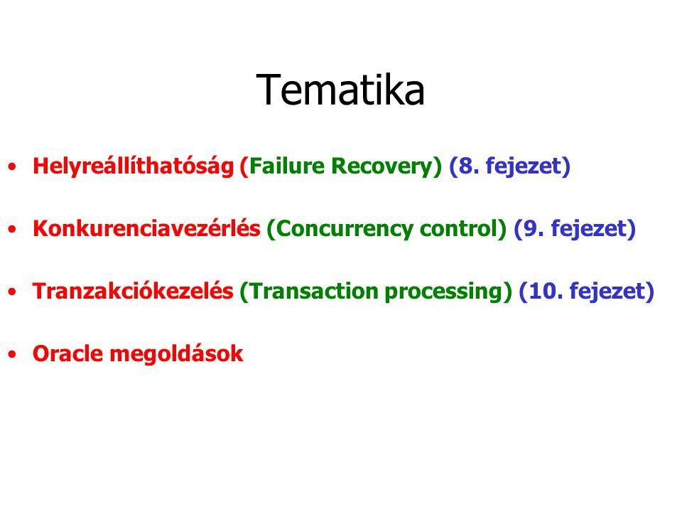 Tematika Helyreállíthatóság (Failure Recovery) (8.