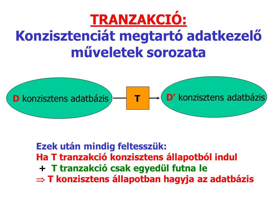 TRANZAKCIÓ: Konzisztenciát megtartó adatkezelő műveletek sorozata D konzisztens adatbázis T D konzisztens adatbázis Ezek után mindig feltesszük: Ha T tranzakció konzisztens állapotból indul + T tranzakció csak egyedül futna le  T konzisztens állapotban hagyja az adatbázis