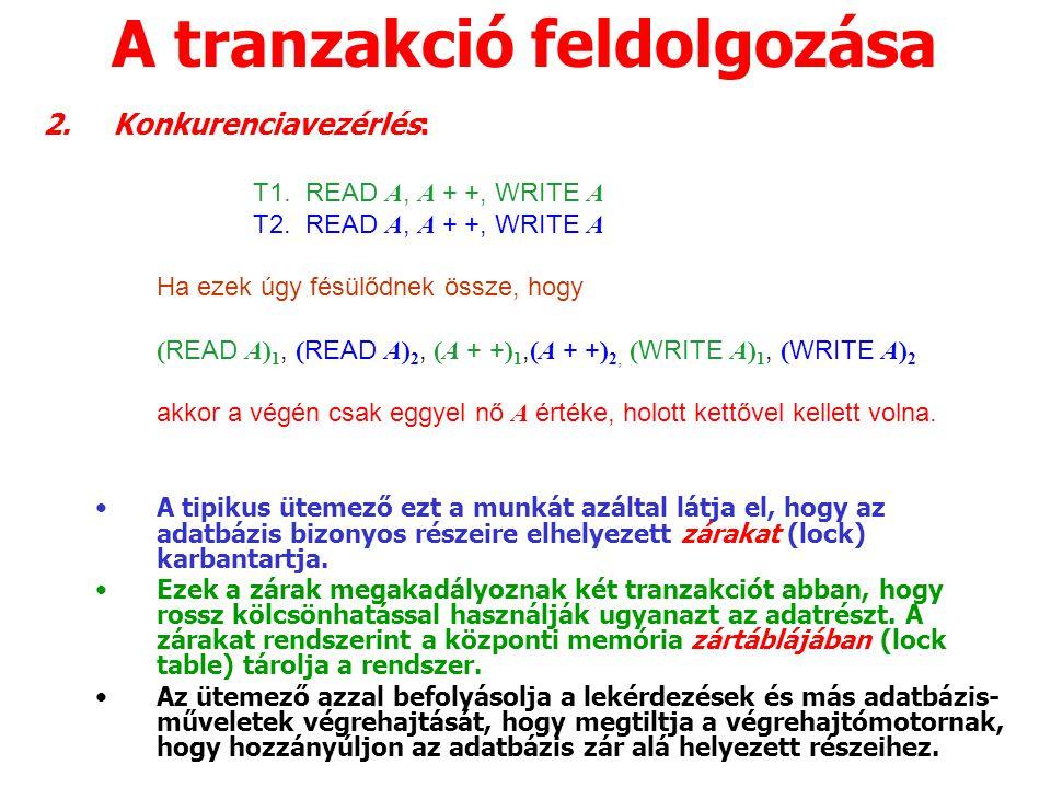 A tranzakció feldolgozása 2.Konkurenciavezérlés: T1.