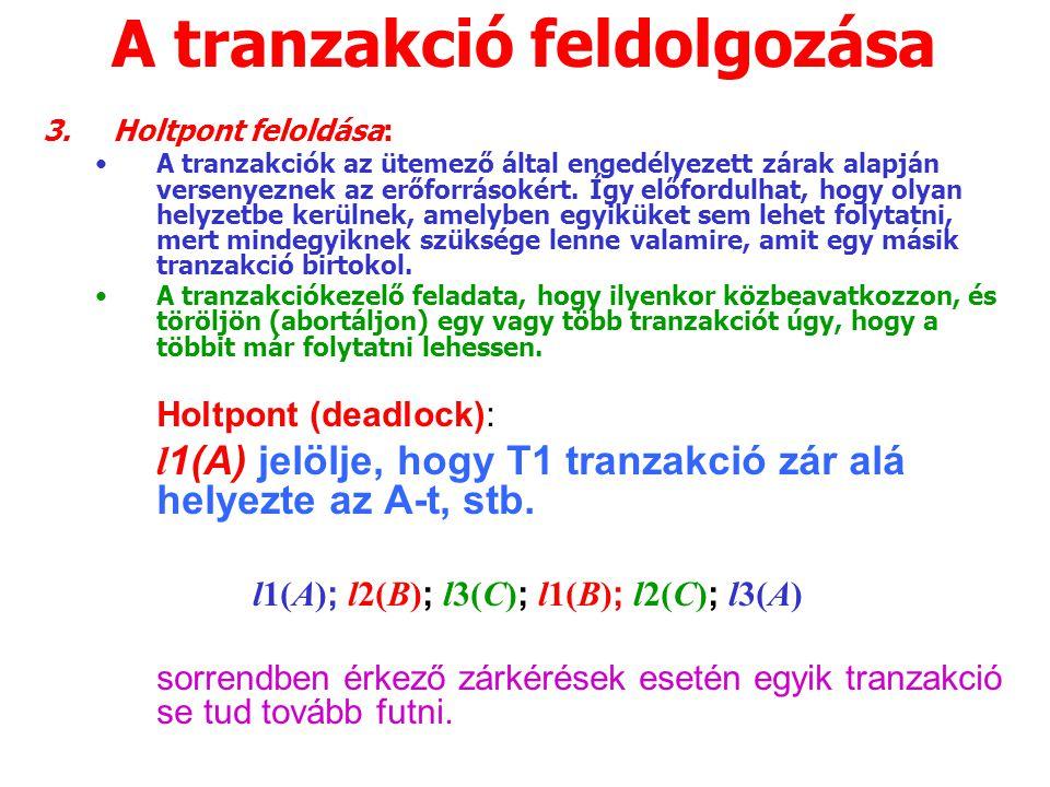 A tranzakció feldolgozása 3.Holtpont feloldása: A tranzakciók az ütemező által engedélyezett zárak alapján versenyeznek az erőforrásokért.