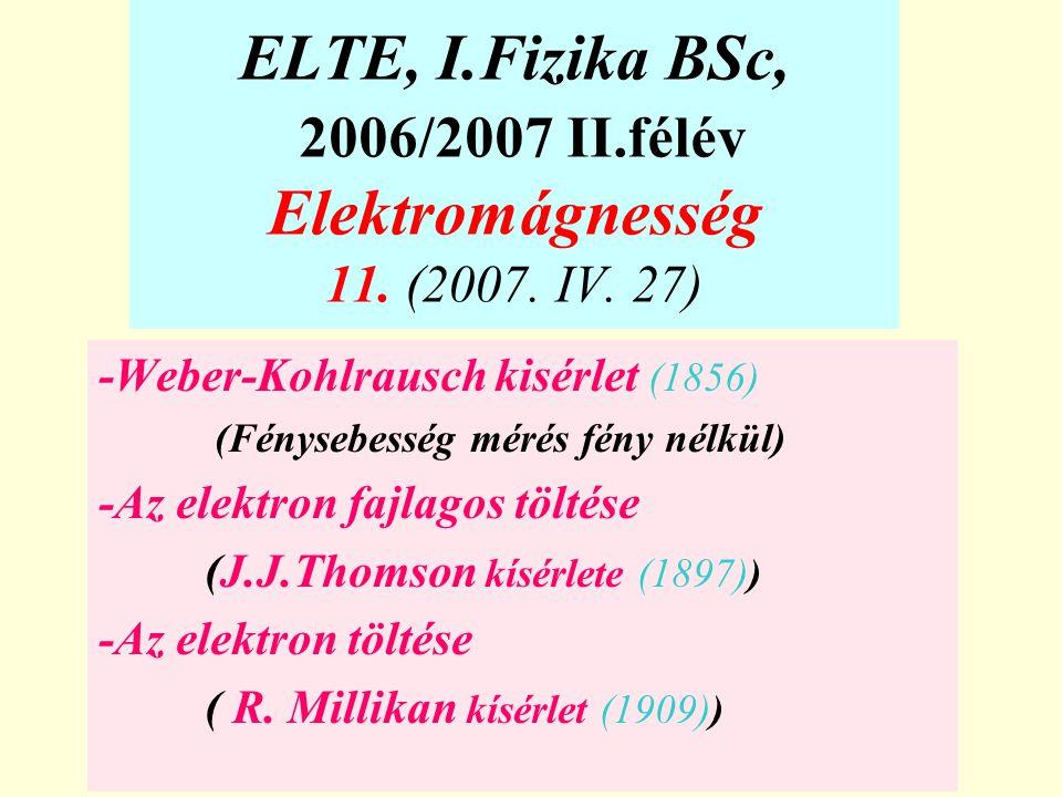 ELTE, I.Fizika BSc, 2006/2007 II.félév Elektromágnesség 11. (2007. IV. 27) -Weber-Kohlrausch kisérlet (1856) (Fénysebesség mérés fény nélkül) -Az elek