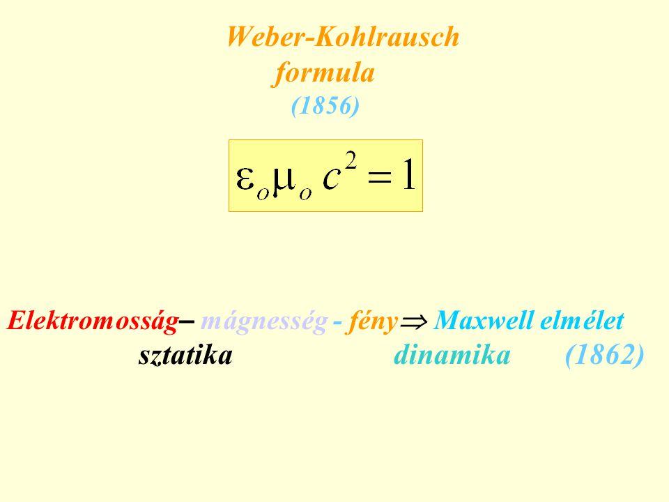 Elektromosság – mágnesség - fény  Maxwell elmélet sztatika dinamika (1862) Weber-Kohlrausch formula (1856)