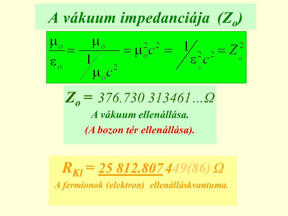 A vákuum impedanciája (Z o ) Z o = 376.730 313461…Ω A vákuum ellenállása. (A bozon tér ellenállása). R Kl = 25 812.807 449(86) Ω A fermionok (elektron