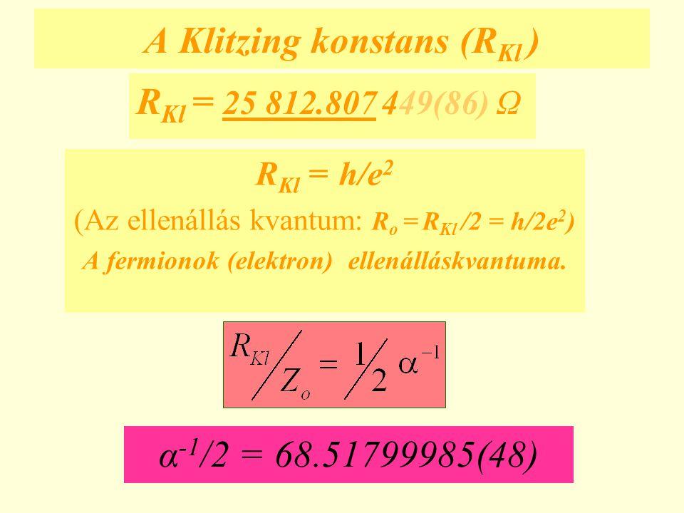 A Klitzing konstans (R Kl ) R Kl = h/e 2 (Az ellenállás kvantum: R o = R Kl /2 = h/2e 2 ) A fermionok (elektron) ellenálláskvantuma. R Kl = 25 812.807