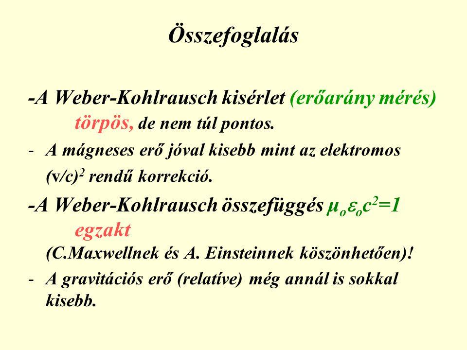 Összefoglalás -A Weber-Kohlrausch kisérlet (erőarány mérés) törpös, de nem túl pontos. -A mágneses erő jóval kisebb mint az elektromos (v/c) 2 rendű k