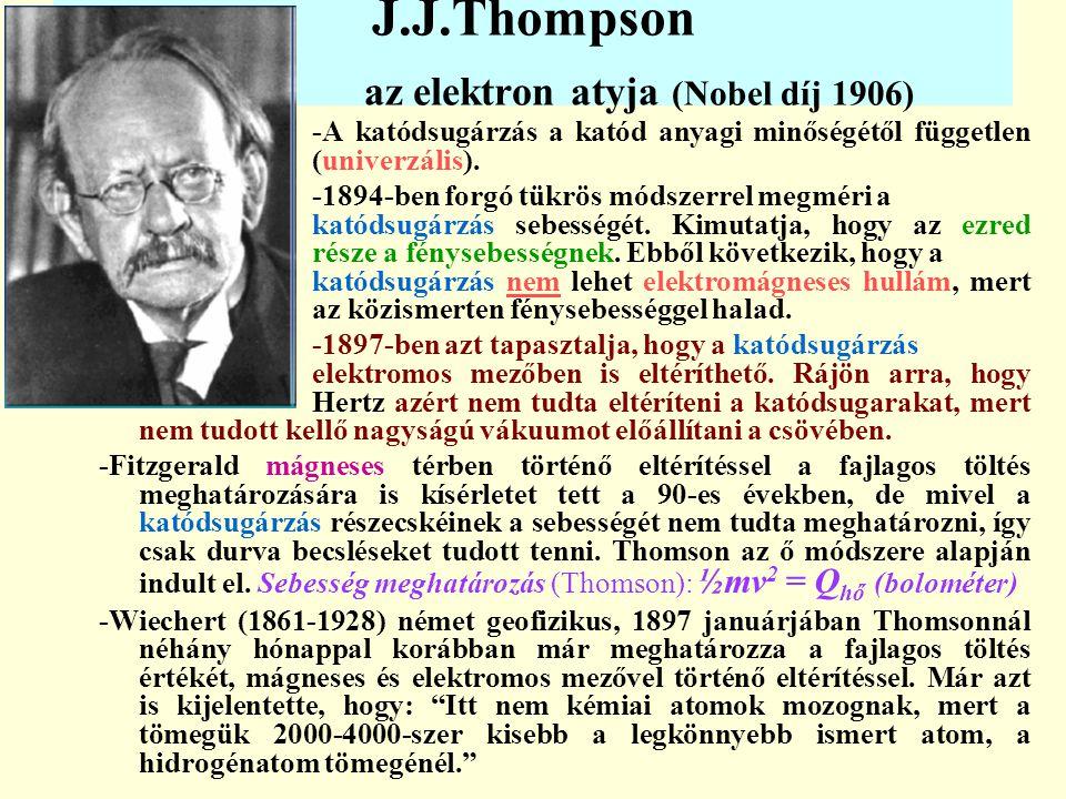 J.J.Thompson az elektron atyja (Nobel díj 1906) -A katódsugárzás a katód anyagi minőségétől független (univerzális). -1894-ben forgó tükrös módszerrel