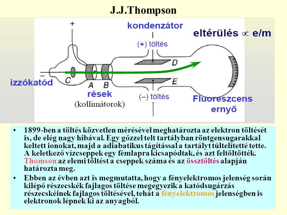 1899-ben a töltés közvetlen mérésével meghatározta az elektron töltését is, de elég nagy hibával. Egy gőzzel telt tartályban röntgensugarakkal keltett