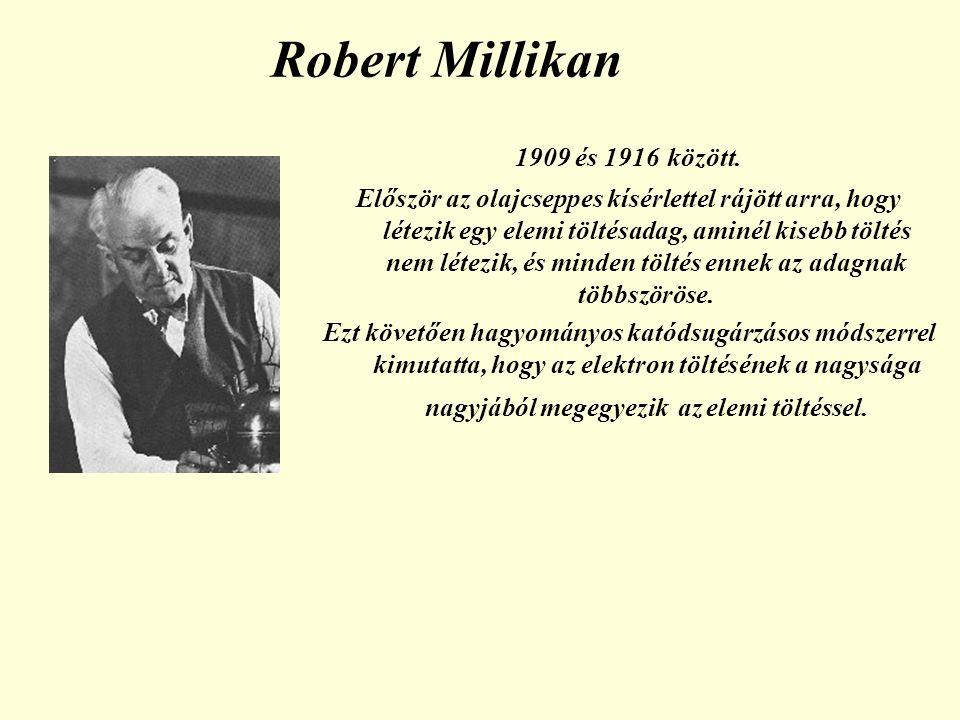 Robert Millikan 1909 és 1916 között. Először az olajcseppes kísérlettel rájött arra, hogy létezik egy elemi töltésadag, aminél kisebb töltés nem létez