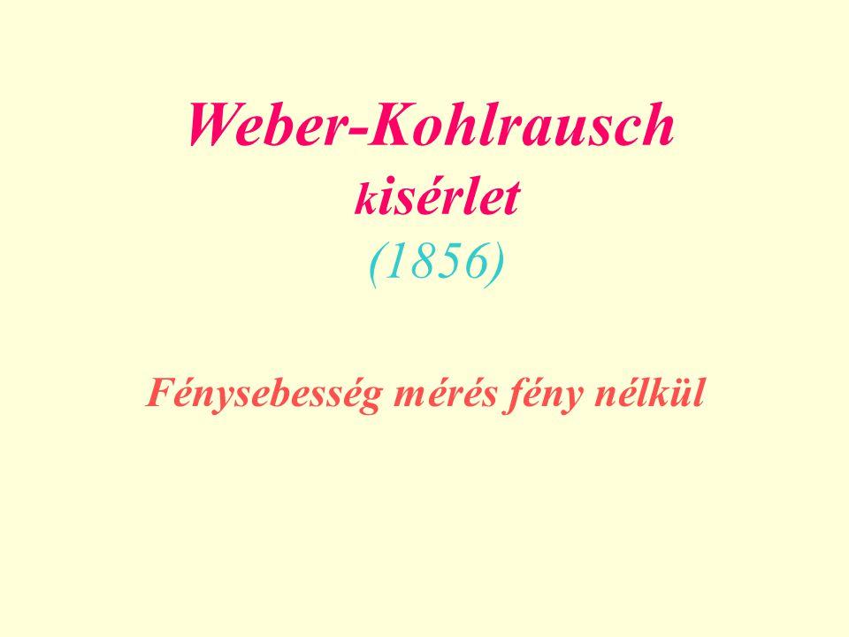 Weber-Kohlrausch k isérlet (1856) Fénysebesség mérés fény nélkül